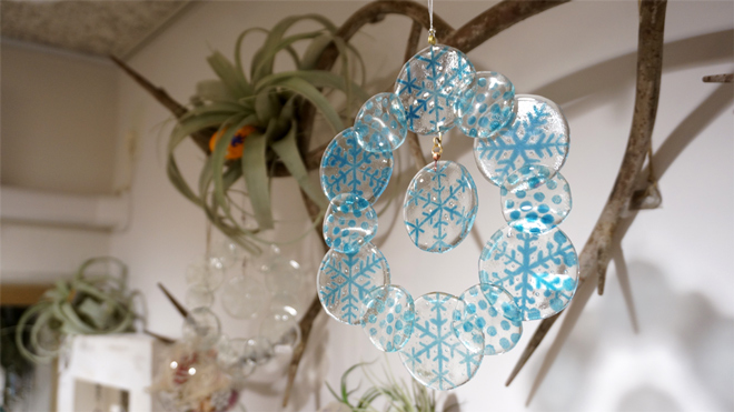 Glass & Art MOMO & Tida Flower Christmas exhibition 2015 雪の結晶 Snow Glass Wreath スノーガラスリース