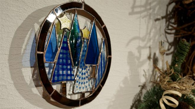Glass & Art MOMO & Tida Flower Christmas exhibition 2015 ステンドグラス