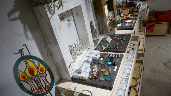 Glass & Art MOMO & Tida Flower Christmas exhibition 2015 ステンドグラス ガラス作品