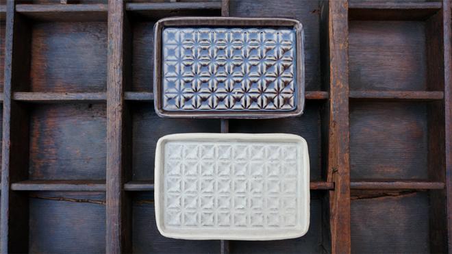 堂本陶工房 粉引きチョコレート皿 紫釉 チョコレート皿