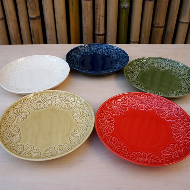 型押し中皿(各5色)切り紙作家 矢口加奈子