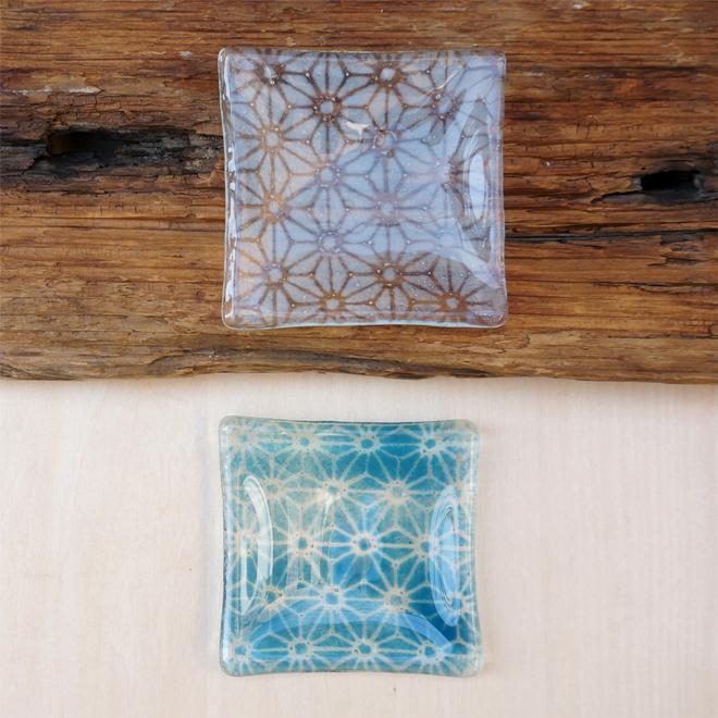 TOKYO FANTASTIC × Glass&Art MOMO 麻の葉 ガラス 豆皿 青と白