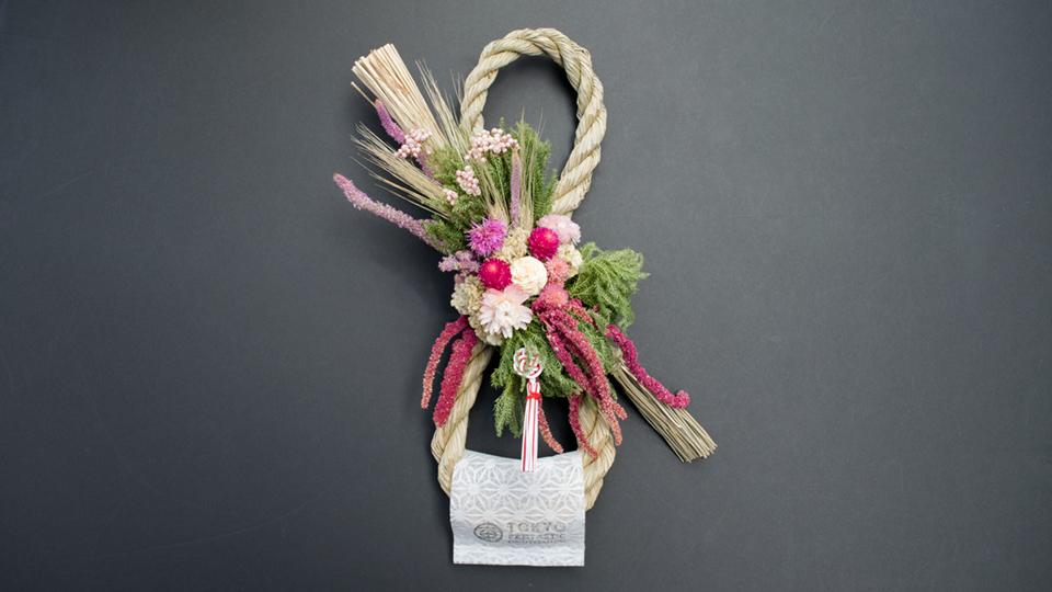 Tida Flowerのしめ縄リース 8の字 赤・ピンク