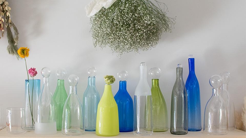 安達 寿英 toccio! glass works ガラス花瓶 パステルガラスフラワーベース