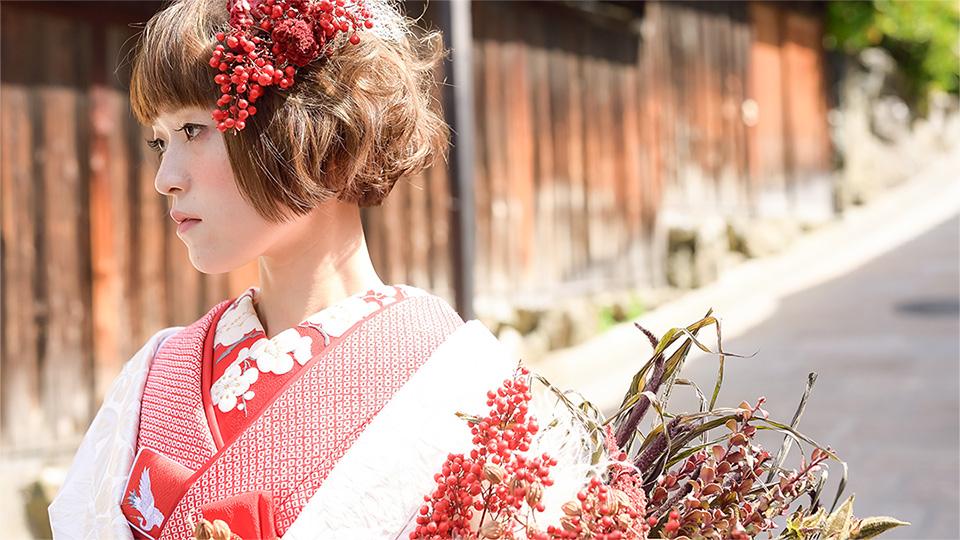 「京都×和装」なフォトウェディング THE DRESS ROOM 「京都撮り」ドライフラワー by Tida Flower