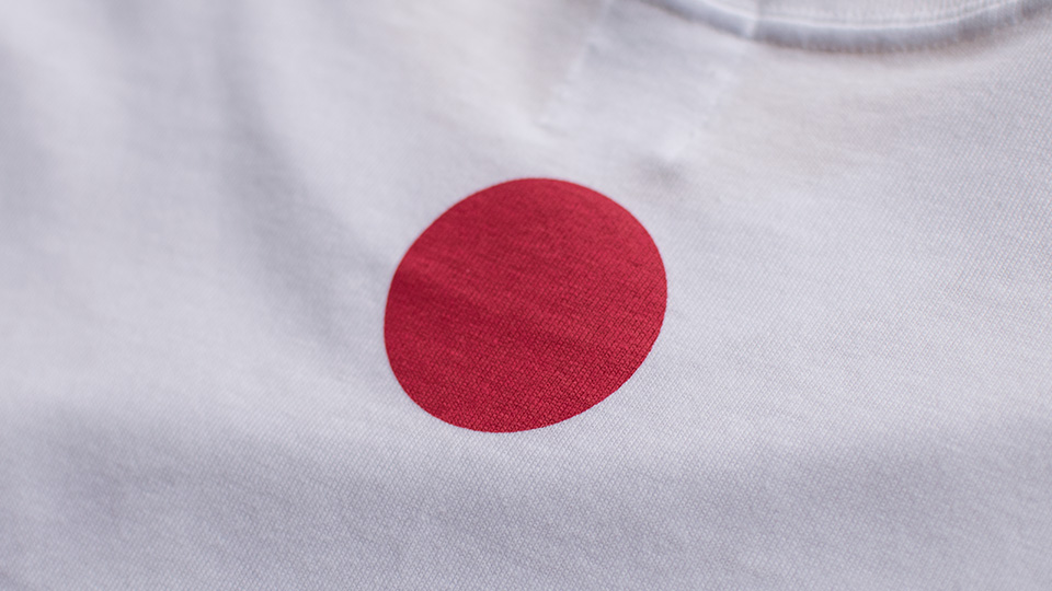 JAPAN T-shirt by TOKYO FANTASTIC 背面首元・赤丸
