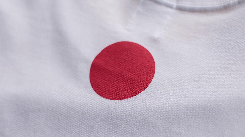 JAPAN T-shirt by TOKYO FANTASTIC 背面首元・赤丸