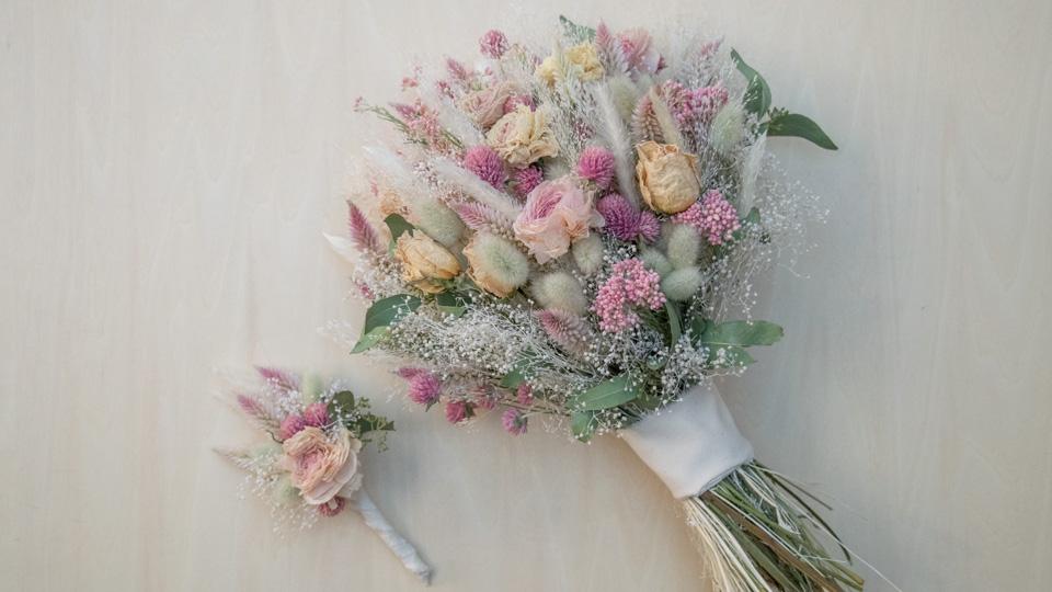 ドライフラワーウェディングブーケとブートニア / Dried Flowers