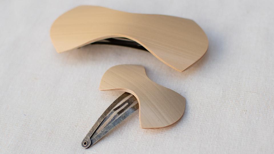 モロクロ bamboo product「竹リボン(ヘアピン、バレッタ)」